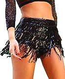 Yollmart Women's Sequins Tassel Skirts Shorts Booty Dance Festival Bottoms-Black-M