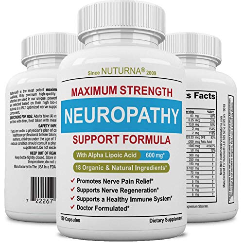 Neuropathy Support Supplement - Nerve Pain Support with 600 mg Alpha Lipoic Acid Daily Dose - Peripheral Neuropathy - Feet Hand Legs Toe Maximum Strength Nerve Renew Repair Support Formula, 120 Caps