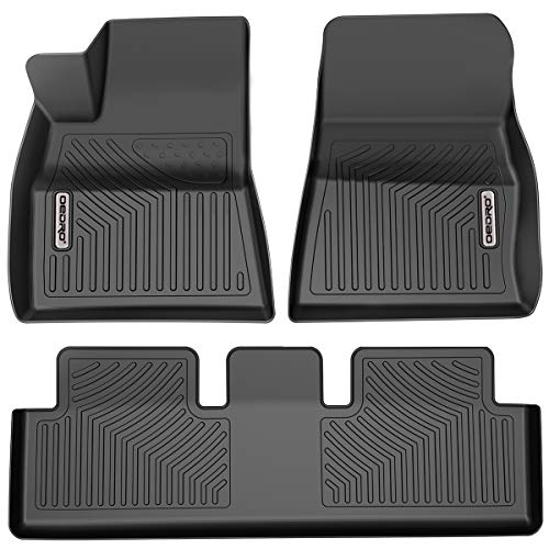 OEDRO Floor Mats Compatible for 2017-2021 Tesla Model 3, Unique Black TPE All-Weather Guard Includes 1st and 2nd Row: Front, Rear, Full Set Liners