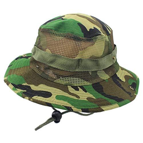 AROVON - Sombrero de Camuflaje Unisex con Cuerda, de Verano, para Hombre, Mujer, Pescador, Gorra Militar, Sombrero de Borde Redondo as Shown 2 Taille Unique