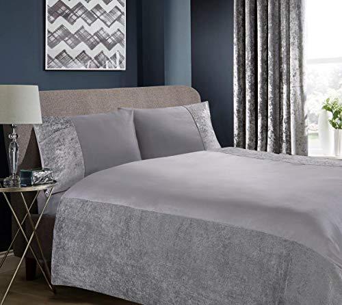 Hachette Belgravia Crushed Velvet Duvet Cover Bedding Bed Set with Pillowcases (Grey Silver, Double)