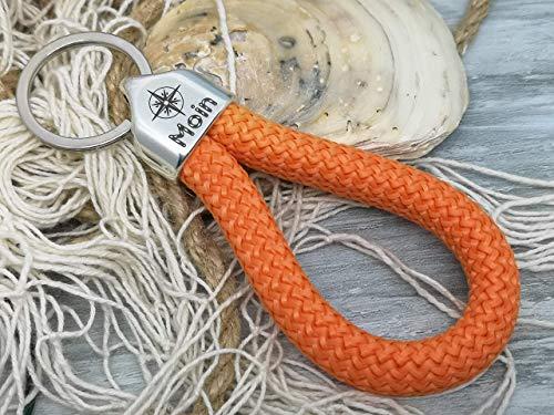 MOIN - Schlüsselanhänger Schlaufe - orange - handgetüdelt in Hamburg - maritimes Geschenk, für einen Umzug nach Norddeutschland oder an die Küste