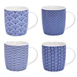Flanacom Boho - Juego de 4 tazas de café grandes de 300 ml - Diseño oriental - Tazas de té de alta calidad con impresión fina - Cerámica apta para lavavajillas - Regalo para mujeres madre (Diseño 4)