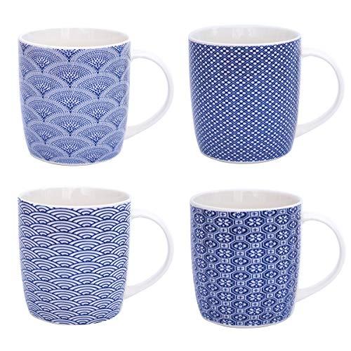 Flanacom Boho Kaffeetasse 4-er Set - Große Kaffee-Becher 300-ml - orientalisches Design - hochwertige Tee-Tassen mit feinem Druck - Spülmaschinenfeste Keramik - Geschenk für Frauen Mutter (Design 4)