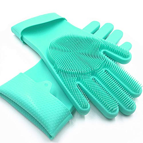 Product Image 1: SolidScrub | Magic Silicone Gloves Scrubbing Gloves for dishes, dishwashing gloves with scrubbers, dish gloves for kitchen, car wash, and pet care | 1 pair, 2 gloves (Green Blue/Aqua)