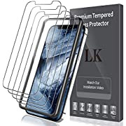 LK [4 Pack] Screen Protector for iPhone 12 Pro [6.1 inch], [Tempered Glass] [Case Friendly] Double Defence [Alignment Frame Easy Installation] [3D Touch]