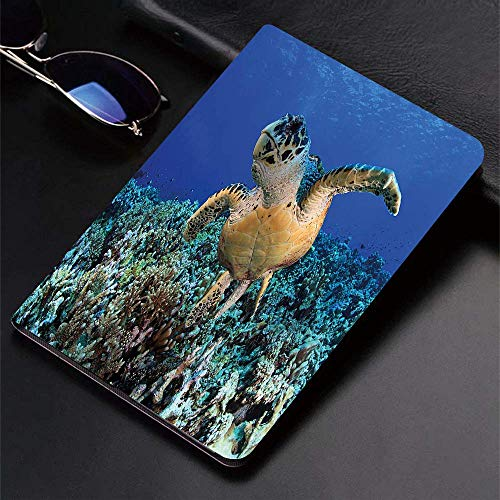 Case for iPad (9.7-Inch, 2018/2017 Model, 6th/5th Generation)Ultra Slim Lightweight Smart Cover,Turtle,Cheloniidae in Deep Blue Ocean Aquatic Endangered Wildlife Nature Ph,Smart Covers Auto Wake/Sleep