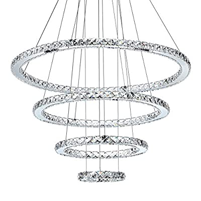 """MEEROSEE Crystal Chandeliers Modern LED Ceiling Lights Fixtures Pendant Lighting Dining Room Chandelier Contemporary Adjustable Stainless Steel Cable 4 Rings DIY Design D31.5""""+23.6""""+15.7""""+7.8"""""""