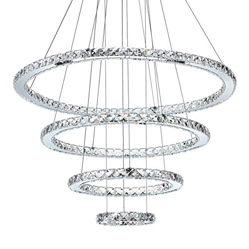 MEEROSEE MD8825-8642MNCW Crystal Modern LED Ceiling Fixtures Pendant Lighting Dining Room Contemporary...