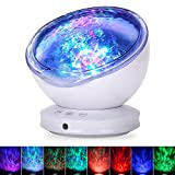 Ocean Wave Projector, GRDE Newest 12 LED Remote Control Night Light Lamp with Timer 8 Lighting Modes Light Show LED Night Light Projector Lamp for Baby Kids Adults Room Decor Bedroom Living Room