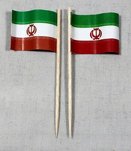 Buddel-Bini Party-Picker Flagge Iran Papierfähnchen in Profiqualität 50 Stück 8 cm Offsetdruck Riesenauswahl aus eigener Herstellung