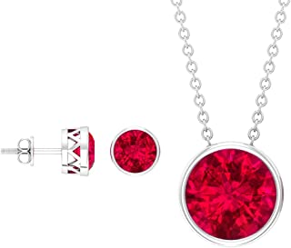 4.35 CT Round Shape Ruby Pendant Set, Red Gemstone Stud Earrings, July Birthstone Chain Necklace, Solitaire Wedding Pendan...