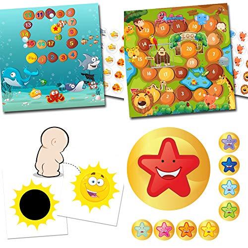 Potje trainer voor peuters - 2 magische stickers zon + beloningssystemen aquarium en dierentuin + 54 stickers sterrenmiley