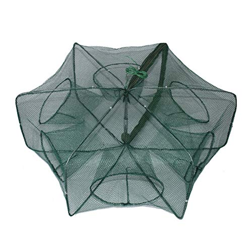 HibiscusElla Hand-Casting Automatic Fishing Net Shrimp Cage Nylon Foldable Crab Fish Trap Cast Net Cast Folding Fishing Network 6 Holes