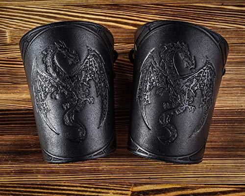 Hand-Made Full Grain Leather Wrist Cuffs Bracers - Fathers Day Dad Gift LARP Gauntlet - Wristbands - LARP Accessories Viking Cosplay Armor Bracelet – Dragon Embossing Archery Armguard 5'