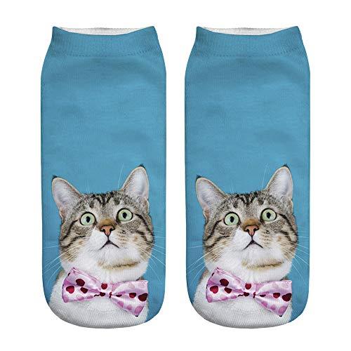 Fenverk Unisex Funny Crew Ankle Socks Winter Warm Lustige Sneaker Socken Baumwolle Frauen Neuheit 3D Gedruckt Eulen Alien Hunde Low-Cut Keine Show Cotton (K)