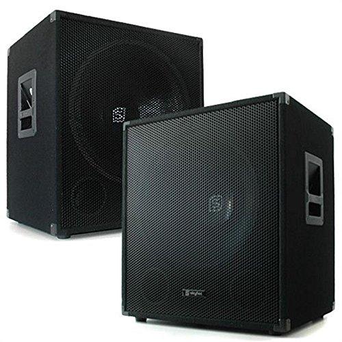 Skytec Bassboxen - PA-Subwoofer Paar, Basslautsprecher, 2 x 1000 Watt max, 18'' Subwoofer, Filzbeschichtung, Metallschutzecken, Griffe, Stativeinsatz Oben, schwarz