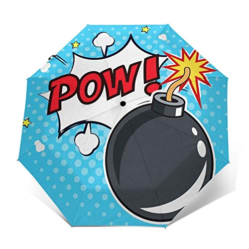 Windproof Travel Folding Umbrella Automatic Comic Bomb Pow Bubble, Large Rain Folding Compact Umbrella Portable Fast Drying with Auto Open Close Button