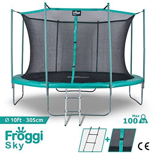 FROGGI Trampoline d'extérieur Sky - 305cm Norme CE - Structure Garantie 5 Ans Charge Max : 100 kg