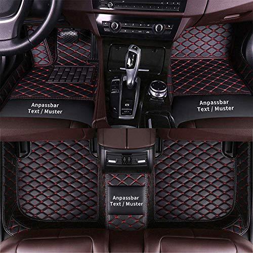 Anpassen Fußmatten (Z.B Für Audi, Für BMW, Für Benz, Für Peugeot, Für Renault, Für Skoda Usw) rutschfeste Fussmatten, Abnutzung Bodenmatten-Leder Material Automatten Teppiche (Schwarz Rot)