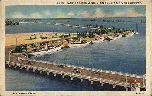 Yachts moored along Miami and Miami Beach Causeway Miami, Florida FL Original Vintage Postcard