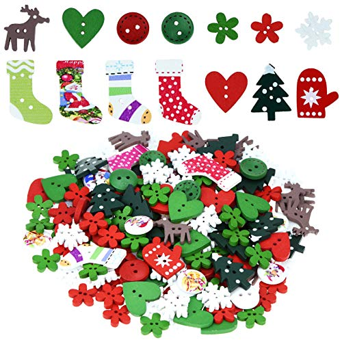 400 Pieces Christmas Wooden Buttons Colorful Sewing Buttons with Christmas Pattern for Handmade Project DIY Scrapbooking, Mixed Sizes and Styles