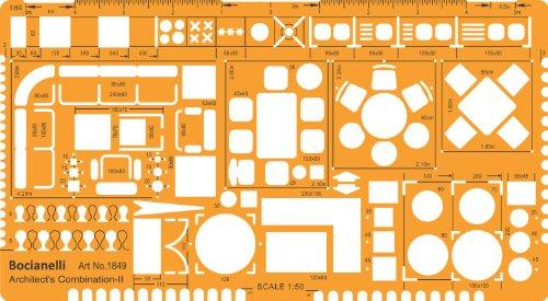1:50 Maßstab Architekt Schablone Zeichenschablone Grundriss Möblierung Innenarchitektur Technisches Zeichnen