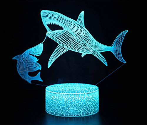 3D Optical Illusion Lamp LED Night Light Illusion Lamp 16 Colour Change Decor Lamp with Remote Control Perfect Gifts for Kids (Shark)