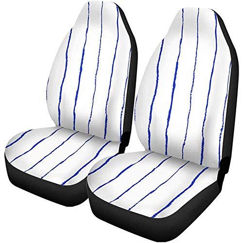 Beth-D autostoelhoezen, blauw gestreept, oliepastel, potlood voor bedrukbare baby- en verjaardagsartikelen, 2-delige accessoireset voor autodecoratie, pasvorm