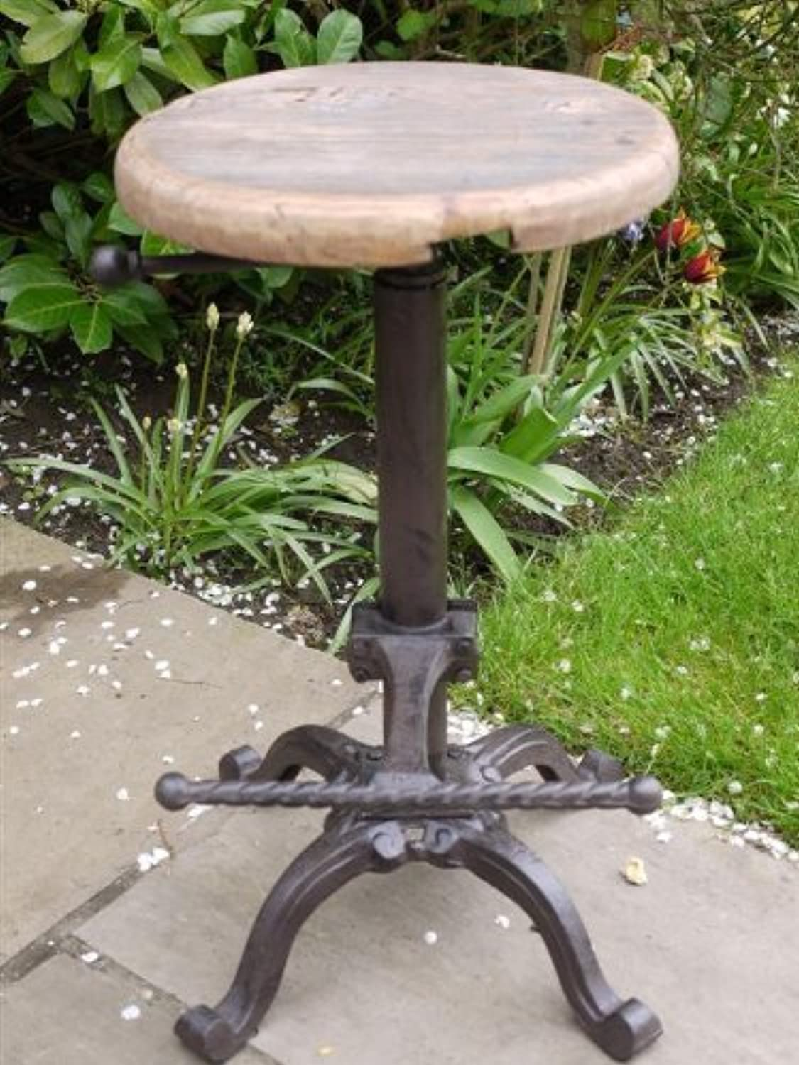 Rustic Tractor Seat Bar Stool Vintage Antique Iron wood Stool for Garden  Kitchen with Wooden Top - Adjustable Height by LS2