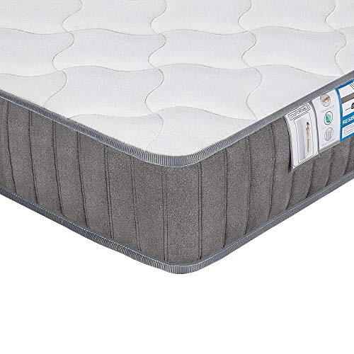 Yaheetech Double Mattress Pocket Sprung Memory Foam Mattress 4ft6 Double Bed Mattress with Breathable Tencel Cover,Gray,135x190x22cm