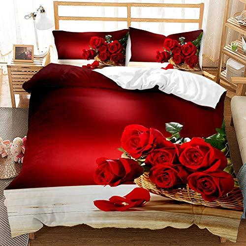 Morbido Flor Rose Día de San Valentín Día de San Valentín Impresión 3D Edredón Ropa de cama Set Heart Love Queen Twin Single Tamaño Duvet Funda Conjunto de funda de almohada Lujo para la decoración de