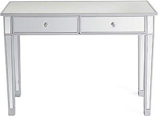 Table Console Verre, Console Meuble Miroir avec 2 Tiroir, Table d'Appoint 105 x 36 x 76 cm, pour Chambre Salon Entrée