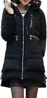 Womens Warm Zipper Pockets Long Sleeve Thicken Hooded Fleece Mid Length Overcoats Outwear Coats Tops