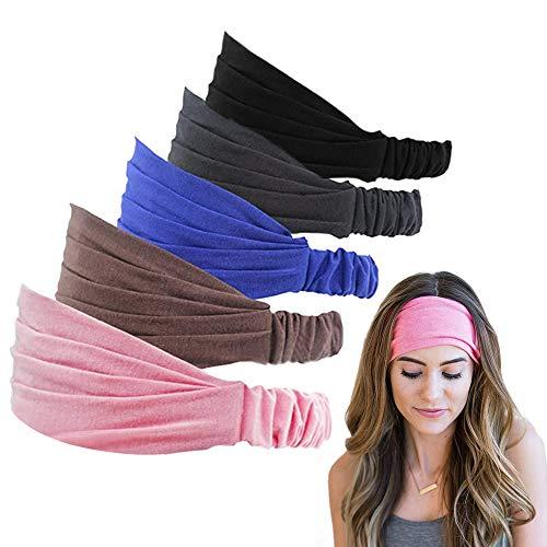 Ealicere 5 Stück Stirnband Elastische Haarband Kopftuch für Männer & Frauen Yoga SPA Sport Make-up Wellness (5 Farben)