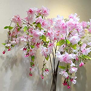 TRRT Fake Plants Silk Rich Cherry Blossom Artificial Flower, Cherry Blossom Bouquet Wedding Decoration DIY Cherry Fake Flower (Color : Pink)