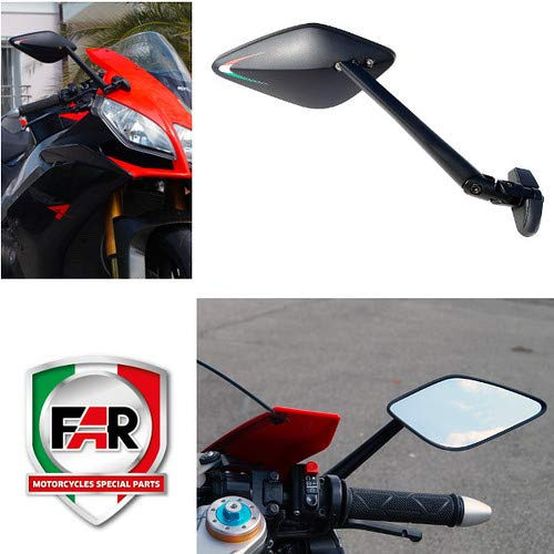 7703+7702 Par de Espejos retrovisores homologados Viper de carenado Compatible con Kymco Quannon 125 Moto Negro