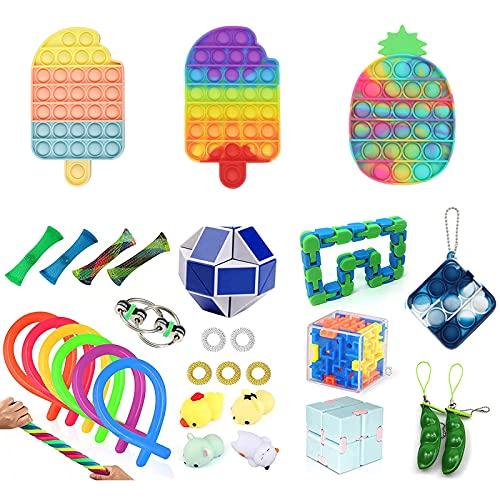 Eghunooze Juego de juguetes fidget de 25 piezas, juego de fidget con juguete de malla de mármol, juguete sensorial, juguete para aliviar el estrés para niños, adolescentes y adultos
