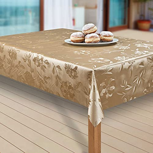 laro Wachstuch-Tischdecke Abwaschbar Garten-Tischdecke Wachstischdecke PVC Plastik-Tischdecken Eckig Meterware Wasserabweisend Abwischbar, Muster:Dahlien Gold Beige, Größe:90-120 cm