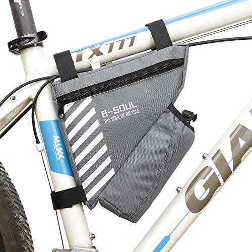YABAISHI Bicicleta Impermeable Bicicleta PVC Tubo Delantero Triángulo Marco Bolsa Frontal Silla de Montar Bolsa de Marco al Aire Libre (Color : Gary)