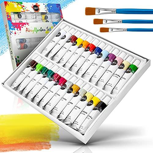 Colardo ® Acrylfarben Set [24x 12ml] Acrylfarben – Inklusive 3 Pinsel – Wasserfeste Acryl Farben für Leinwand, Holz, Papier und Stein – Acrylfarben Set für Kinder und...