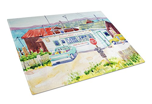 Caroline's Treasures 6054LCB Seafood Shack for fresh shrimp Glass Cutting Board Large, 12H x 16W, multicolor