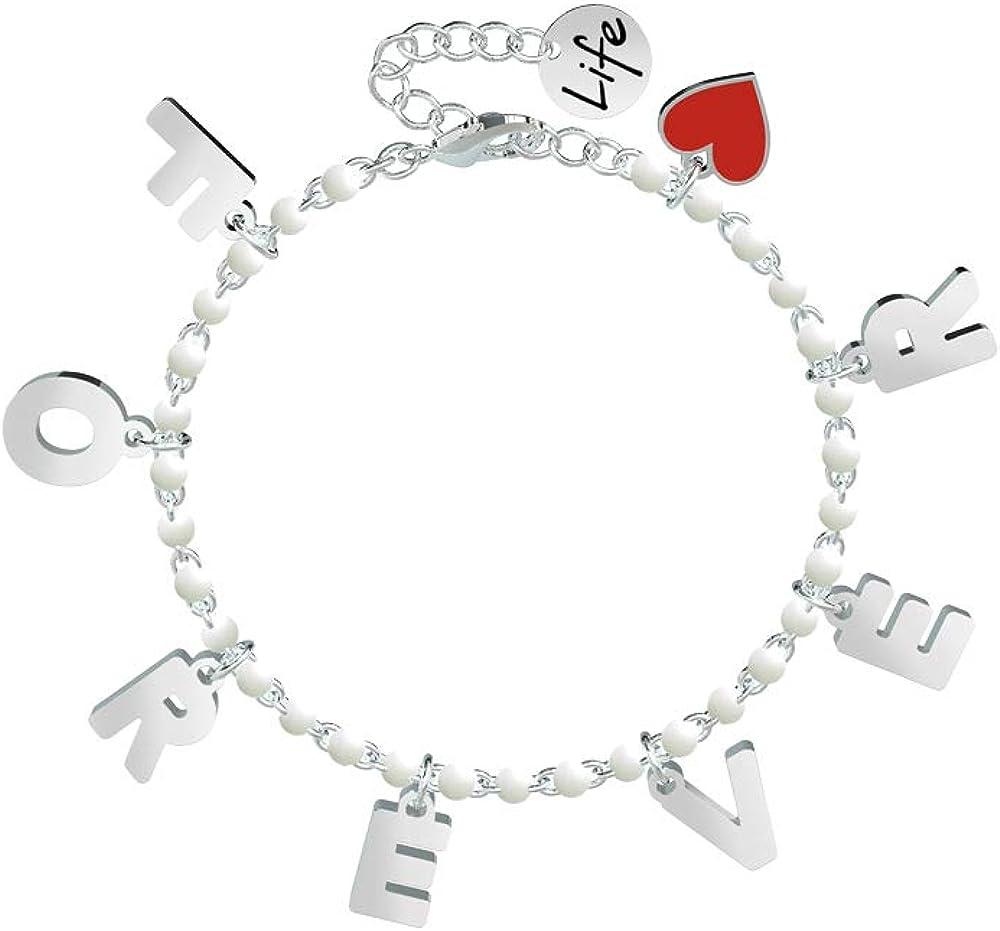 Kidult, braccialetto per donna con pendenti,in acciaio 316 l XYZ-002186