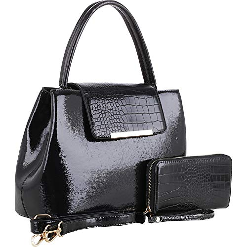 MKF Collection by Mia K. MKF-1969BK Edith Satchel with Wallet Black