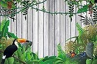 HiYash 夏の熱帯の葉オオハシの背景10x7ft木製の写真の背景ジャングルの葉を持つヴィンテージ木板の板ハッピーバースデー装飾壁紙子供パーティー