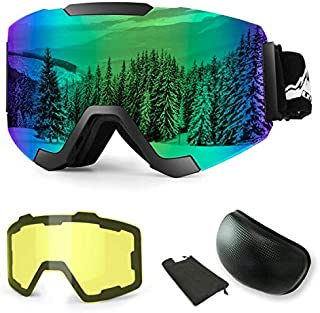 Extra Mile 【2019New】 Ski Goggles, Anti-Fog UV Protection Winter Snow Sports Snowboard Goggles with Interchangeable Spherical Dual Lens for Men Women & Youth Snowmobile Skiing Skating
