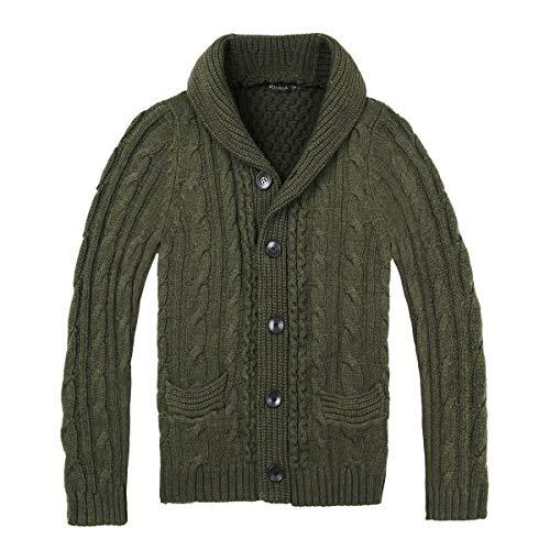 BOTVELA Men's Shawl Collar Cardigan Sweater Button Front Solid Knitwear (L, Green)