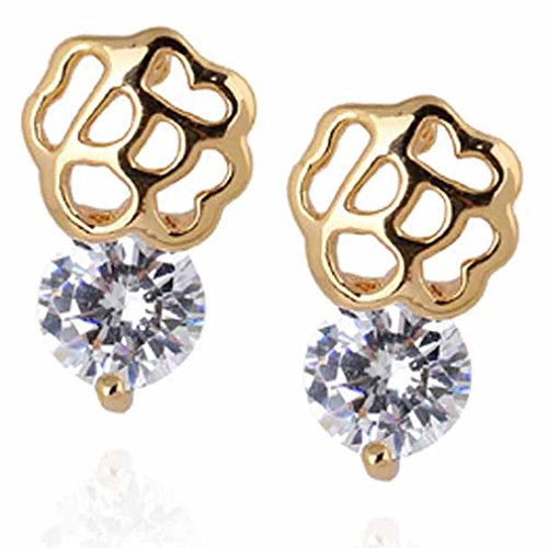 Yazilind elegante 14K Gold Filled ronda cubic Circonita Hollow Pequeña Flor Stud Pendientes de Idea regalo de las mujeres