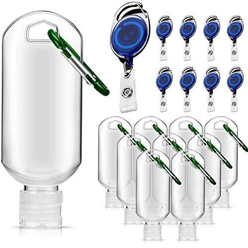Paquete de 16 botellas de viaje de plástico con llavero transparente, botellas vacías a prueba de fugas con gancho tamaño de viaje para viajes, actividades al aire libre, escuela (50 ml)