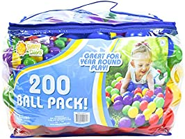 Sunny Days Entertainment 200 Count Colorful Play Balls – Phthalate and BPA Free Non-Toxic Crush Proof Plastic Ball Pack...